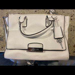 White Leather Michael Kors Key Lock Bag